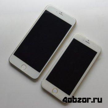новинка Смартфоны Apple iPhone 6 с экранами размером 4,7 и 5,5 дюйма сфотографированы вместе
